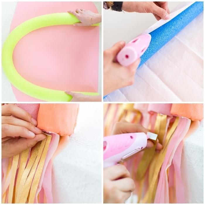 deko ideen, parytdeko basteln, wanddeko regenbogen, fransen aus rosa und gelbem papier