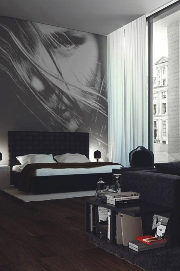 deko-ideen-schlafzimmer-schwarzes-bett-boden-aus-holz-bild-weisse-gardinen