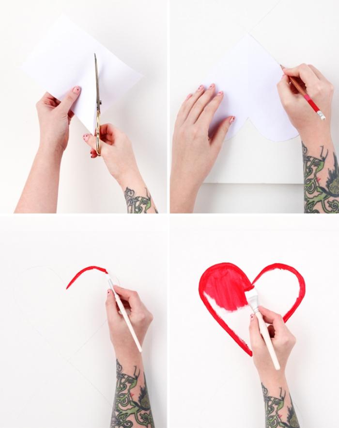 deko ideen selbst machen, herzform ausschneiden, herz malen, rote farbe