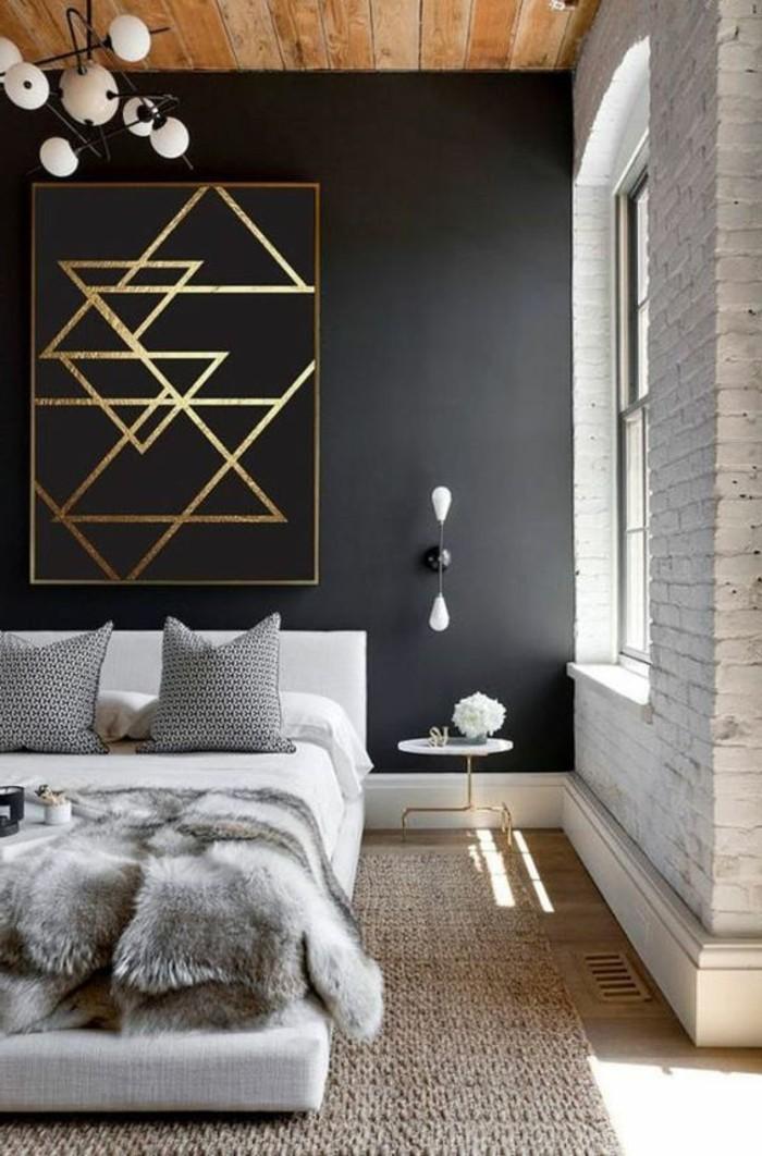 deko-schafzimmer-weisses-bett-kissen-beige-teppich-lamuee-bild-schwarze-wand