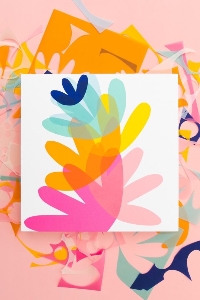deko selber machen, bild mit blumen aus seidenpapier, einfache deko ideen, selbstgemacht