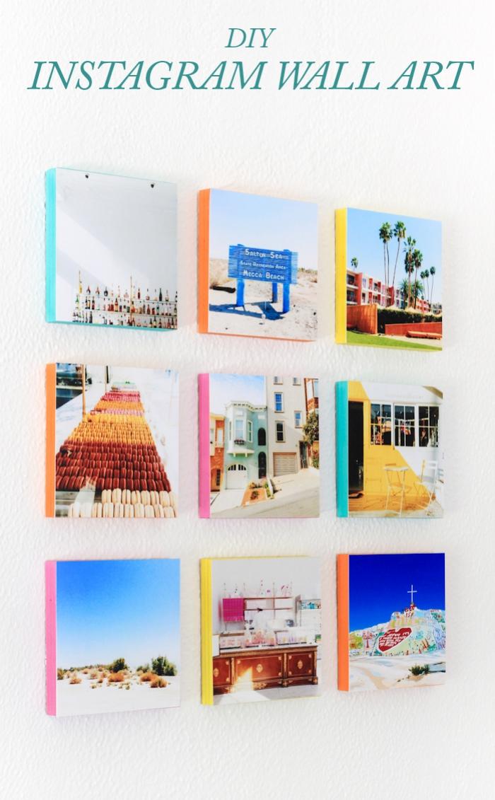 deko selber machen, instagram fotowand, fotos geklebt auf holzplatten