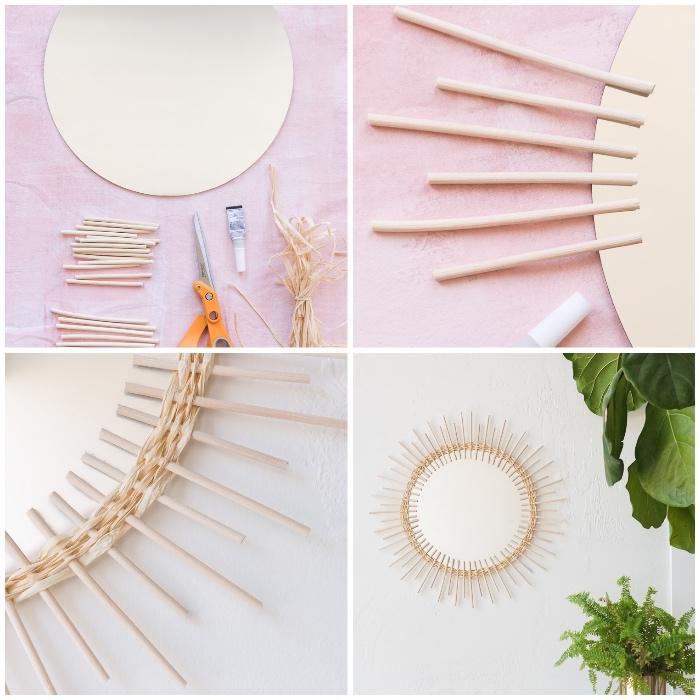 deko selber machen, runder spiegel, dünne stäbchen aus rattan, sonnenspiegel