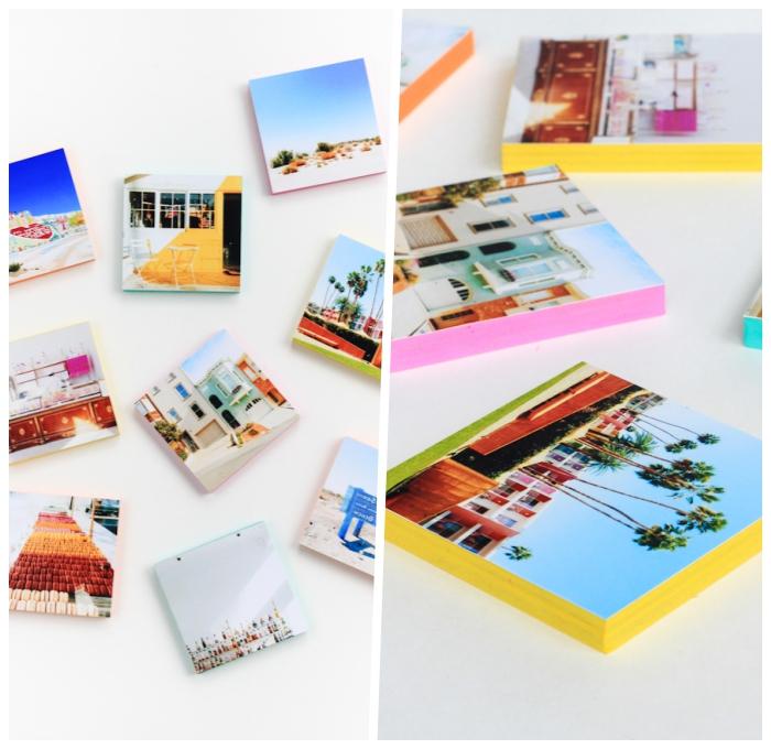 deko selber machen, fotos befestigt an holzplatten, instagram fotowand