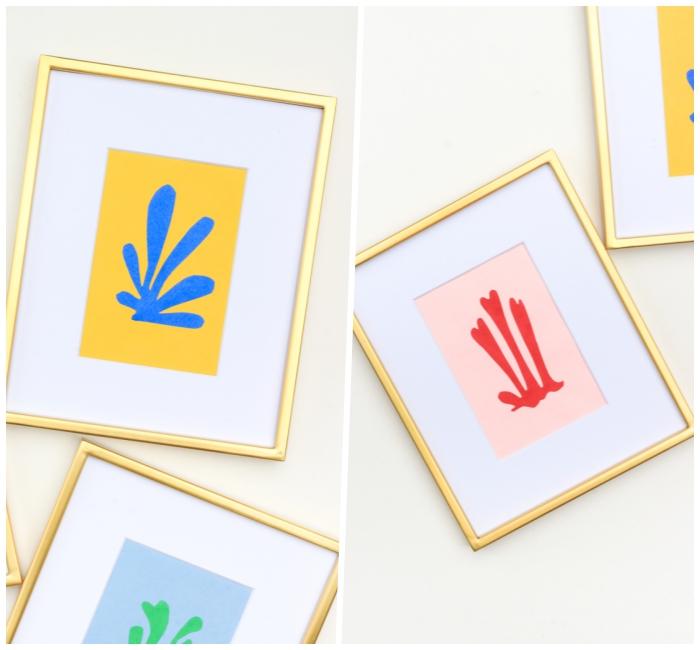 dekoideen wohnzimmer, selsbtgemachte bilder mit goldenen rahmen, wanddeko basteln
