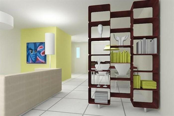 moderne ideen zur optischen trennung durch regal raumteiler. Black Bedroom Furniture Sets. Home Design Ideas