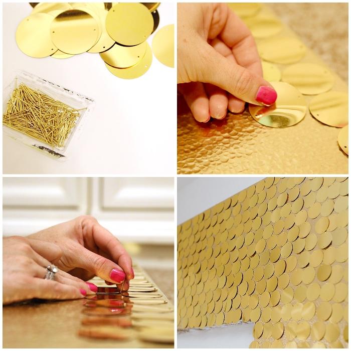 große wanddeko basteln, goldene elemente, dekoration wohnung, arbeitszimmer dekorieren