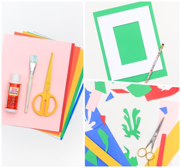 bunte blätter papier, abstrakte form aussschneiden, dekoration wohnung, diy ideen