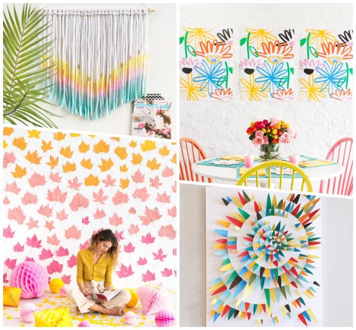 partydeko selber machne, makramee in bunten farben, dekoration wohnung, 3d bild