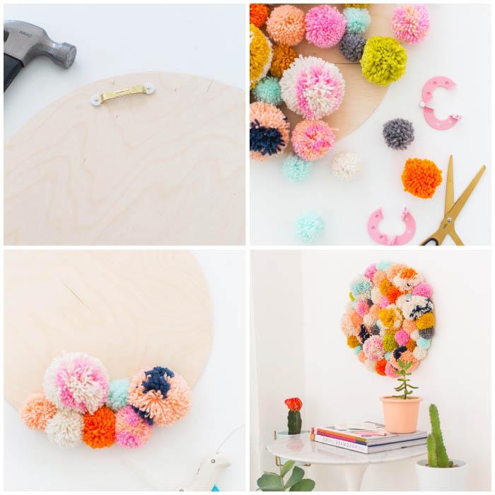 dekoration wohnung, runde holzplatte, bunte pompons, wanddeko aus bommeln