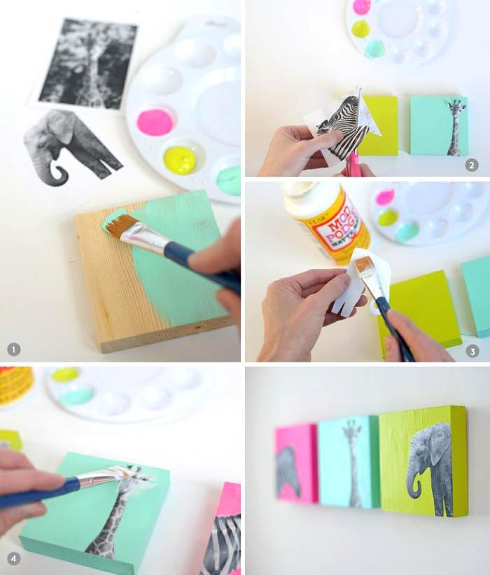 kleine holzplatten, bunte acrylfarben, dekoration wohnung, schritt für schritt