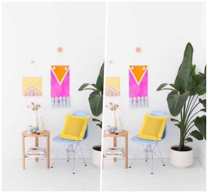 diy ideen für zuhause, wanddeko basteln, holzplatten dekoriert mit farbe und bommeln