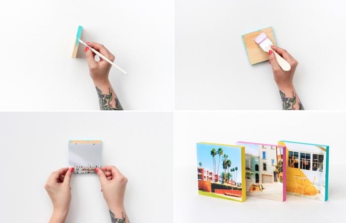 kreative diy ideen für zuhause, holzplatten färben, fotowand machen, diy anleitung