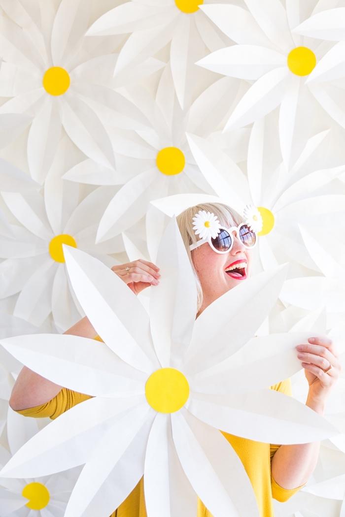 diy ideen, partydeko basteln, große gänseblümchen, papierblumen selber machen