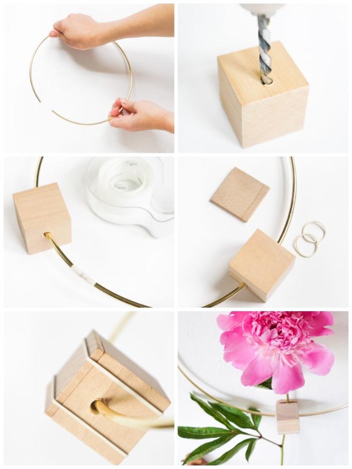 diy ideen, wanddeko basteln aus metallenem ring und holzwürfel, deko mit blumen