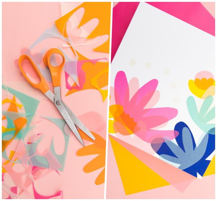 diy ideen für zuhause, wanddeko basteln, blumen aus seidenpapier ausscheniden