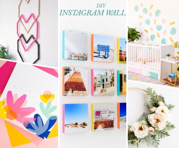 diy ideen für zuhause, wanddeko basteln, instagram fotowand, geometrische deko im babyzimmer, weiße blumen