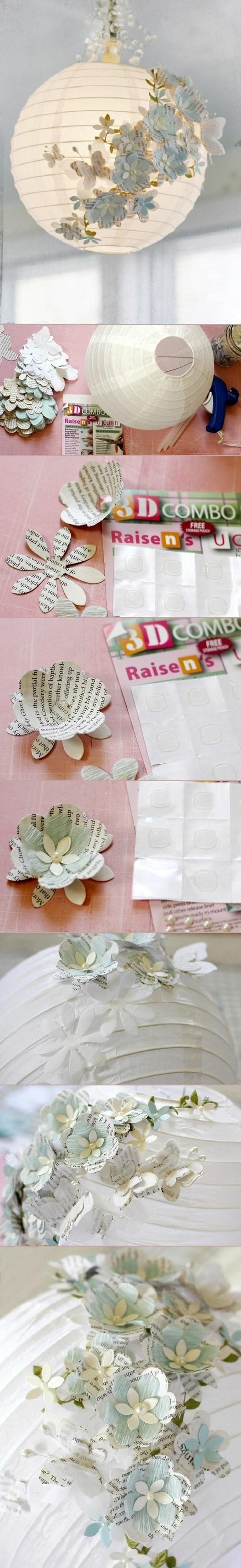 diy-moebel-kreative-wohnideen-kronleuchter-mit-blumen-aus-papier-dekorieren