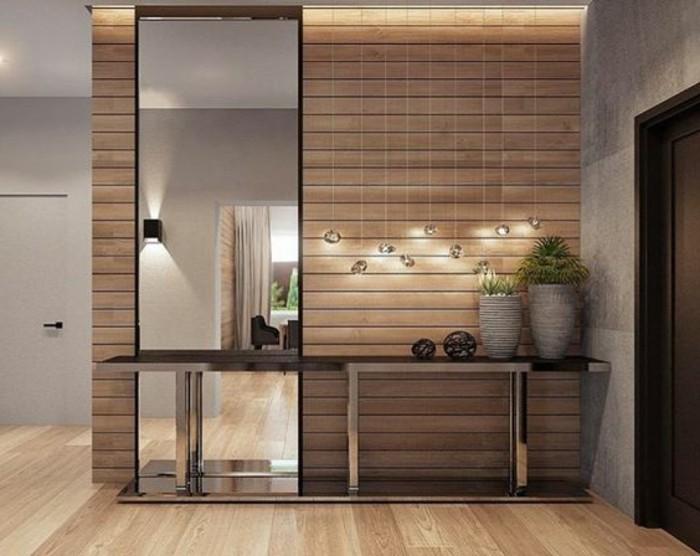 flur-einrichten-deko-flur-eckiger-spiegel-lampen-grune-pflanzen