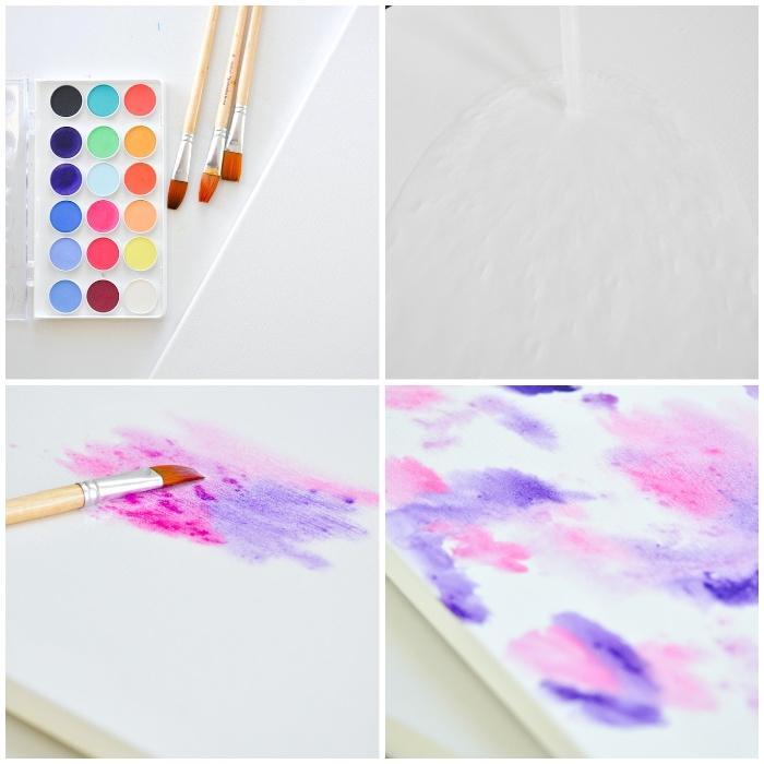 bunte wasserfarben, drie pinsel, frühlingsdeko selber machen, lila und rosa