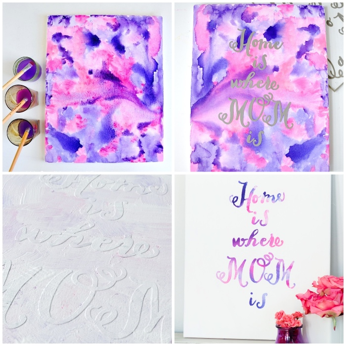 lila und rosa wasserfarbne, schriftzug machen, frühlingsdeko selber machen, leinwand