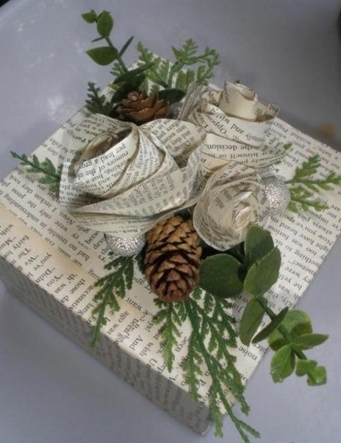 geschenkverpackung-verpackung-basteln-mit-zapfen-und-zweige-rosen-aus-papier