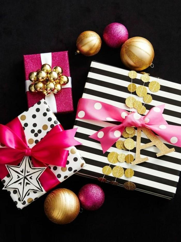 geschenkverpackung-verpackungen-basteln-rosa-schleifen-goldene-weihnachtskugeln