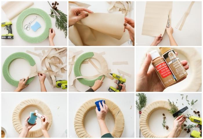 inspiration wie sie einen weihnachtskranz selber machen anleitung schritt für schritt diy basteln mit papier deko weihnachten