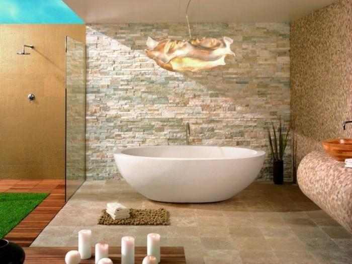 Keramische Fliesen Und Naturstein Im Badezimmer Wandgestaltung