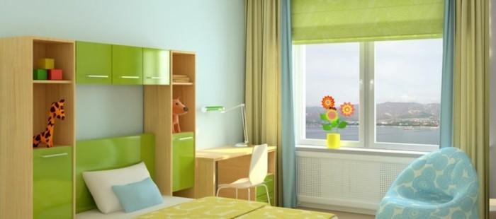 kinderzimmer-gestaltung-mit-klaren-linien-grunem-plissee-und-farbenfrohem-akzent