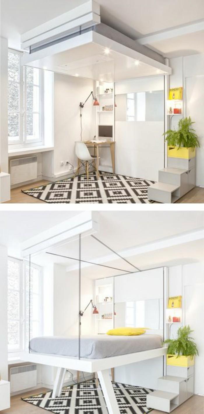 kleine-wohung-einrichten-bett-teppich-in-weiss-und-schwarz