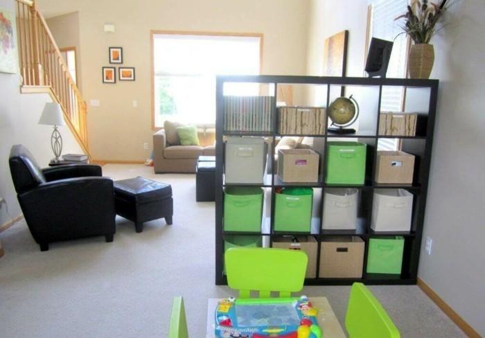 moderne ideen zur optischen trennung durch regal. Black Bedroom Furniture Sets. Home Design Ideas