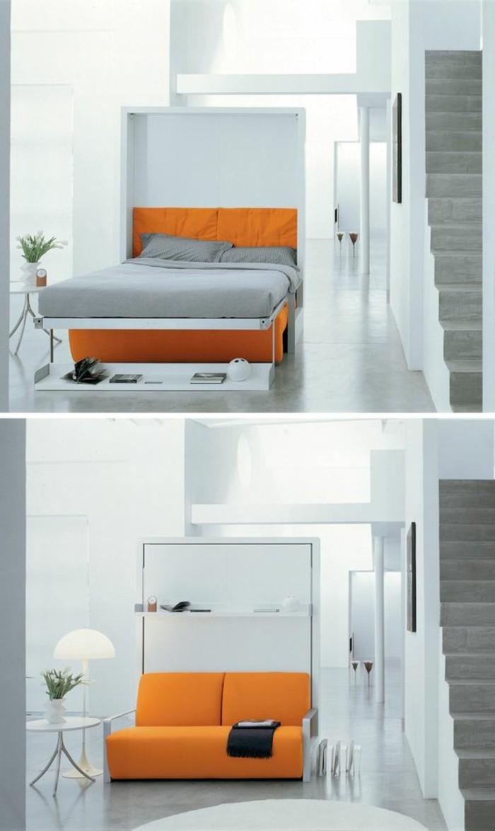 kleines-wohnzimmer-oranger-sofa-bett-weisser-schrank