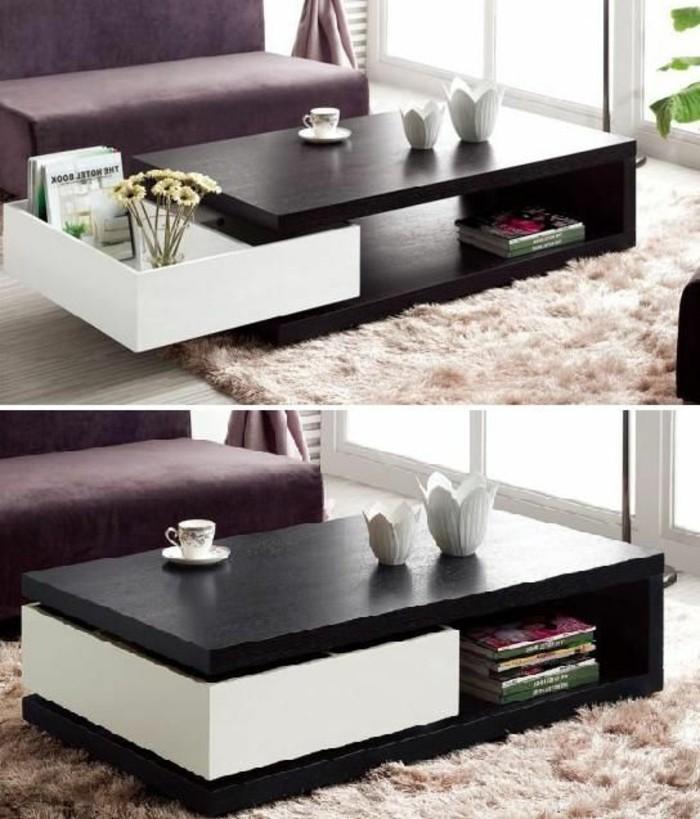 kleines-wohnzimmer-tisch-mit-schublade-in-weiss-und-schwarz
