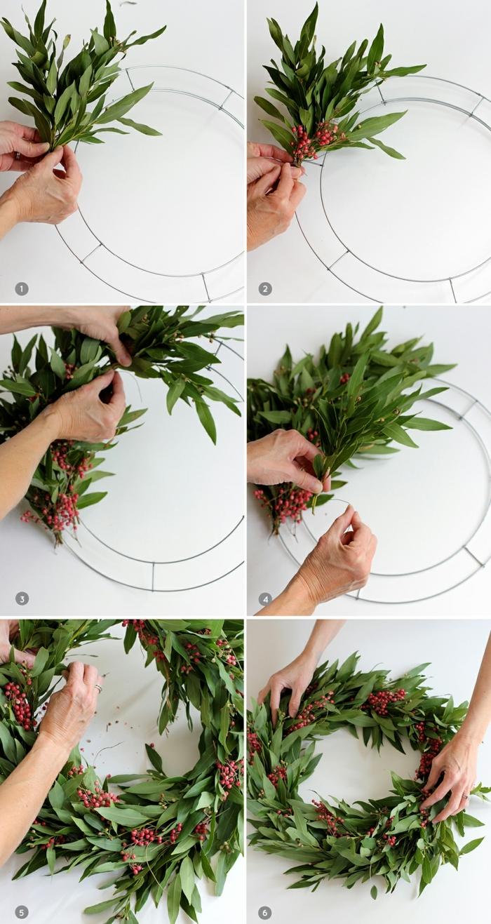 leichte bastelideen adventskranz dekorieren weihnachtskrant selber machen mit lorbeerblätterwzeige diy anleitung schritt für schritt