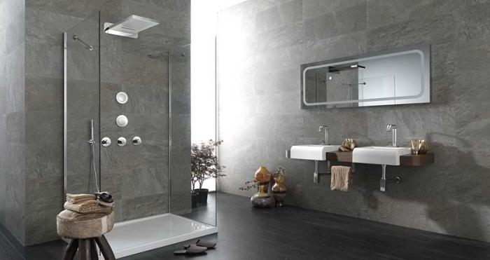moderne bäder, badezimmergestaltung in grau und weiß, badfliesen in beton optik, dekos aus holz
