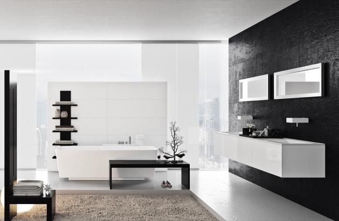 moderne bäder, badezimmereinrichtung in weiß udn schwarz, designer möbel, beige badematte