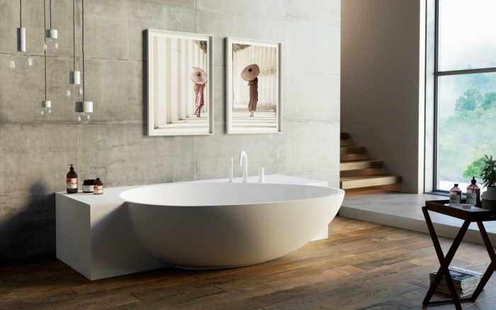 designer badewanne, wanddeko mit bildern, moderne bäder, hängende lampen, holzboden