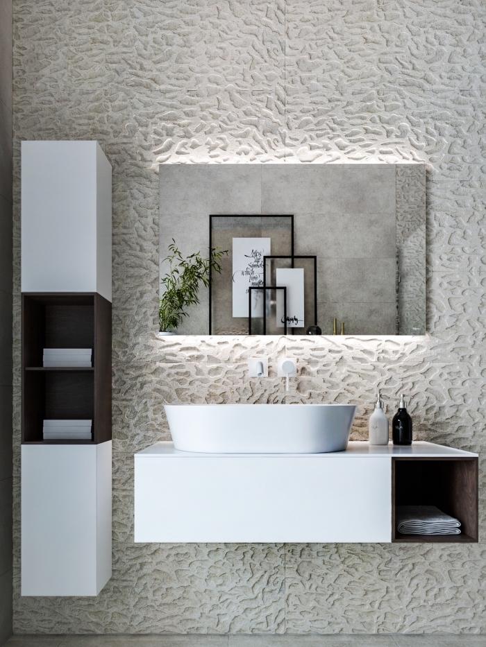 weißer 3d wandpaneel, spiegel mit led beleuchtung, moderne bäder, waschbecken mit unterschrank