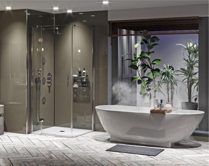 badezimmer einrcihtung in grau udn weiß, bad mit duschkabinne und badewanne, moderne bäder