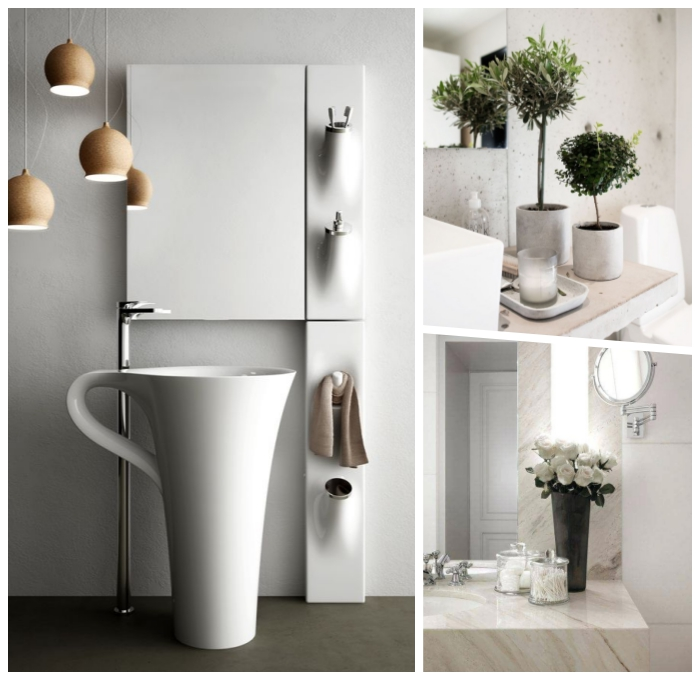 moderne badezimmer deko, bad dekorieren, freistehender waschbecken, kleine bäume, weiße kerzen, badezimmerdeko