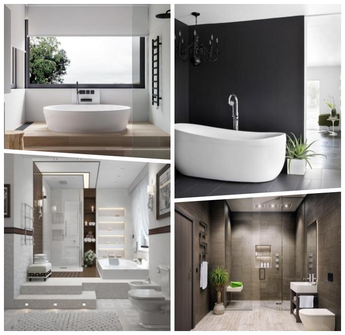 moderne badezimmer einrichtung, designer mäbel fürs bad, freistehende badewannde, badgestaltung ideen