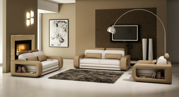 moderne-italienische-moebel-ledermoebel-plueschteppich-feuerstelle-stehlampe-in-beige-dekorieren