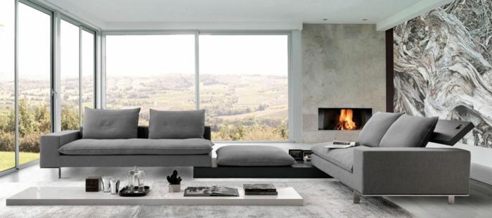 moderne-italienische-moebel-wohnzimmer-feuerstelle-ausziehmoebel-weisser-holzboden-grauer-plueschteppich