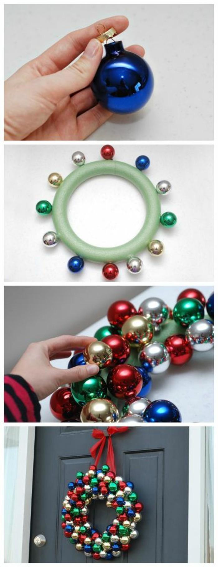 moderne-weihnachtsdeko-aus-bunten-weihnachtskugeln-selber-machen-graue-tuer
