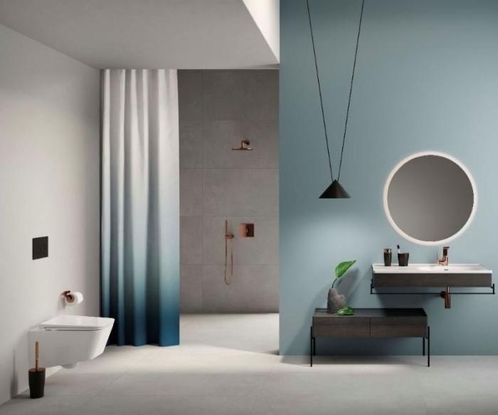 modernes badezimmer bilder, badeinrichtung in minimalistischem stil, vorhang in ombre look, runder spiegel