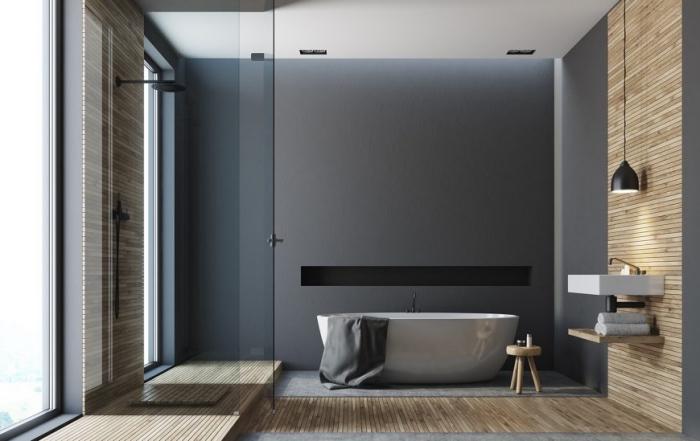 modernes badezimmer bilder, badeinrichtung in anthrazit mit hölzernen elementen, badgestaltung in minimalistischem stil