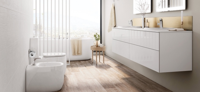 waschbecken mit unterschrank, modernes badezimmer bilder, kleines bad einrichten, baddesign in weiß