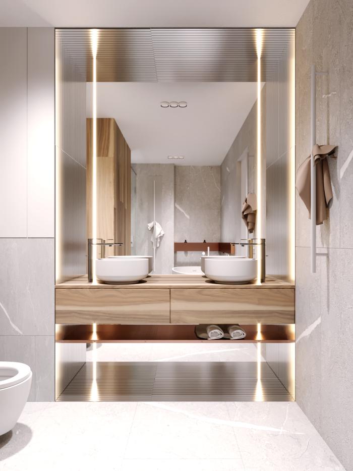 modernes badezimmer bilder, großer spiegel mit led beleuchtung, zwei runde waschbecken mit unterschrank aus holz