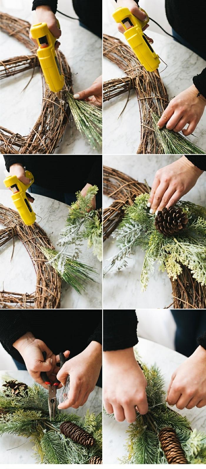 person macht weihnachtskranz aus zweigen diy anleitung schritt für schritt basteln mit tannenzweigen kreative bastelideen kranz weihnachten